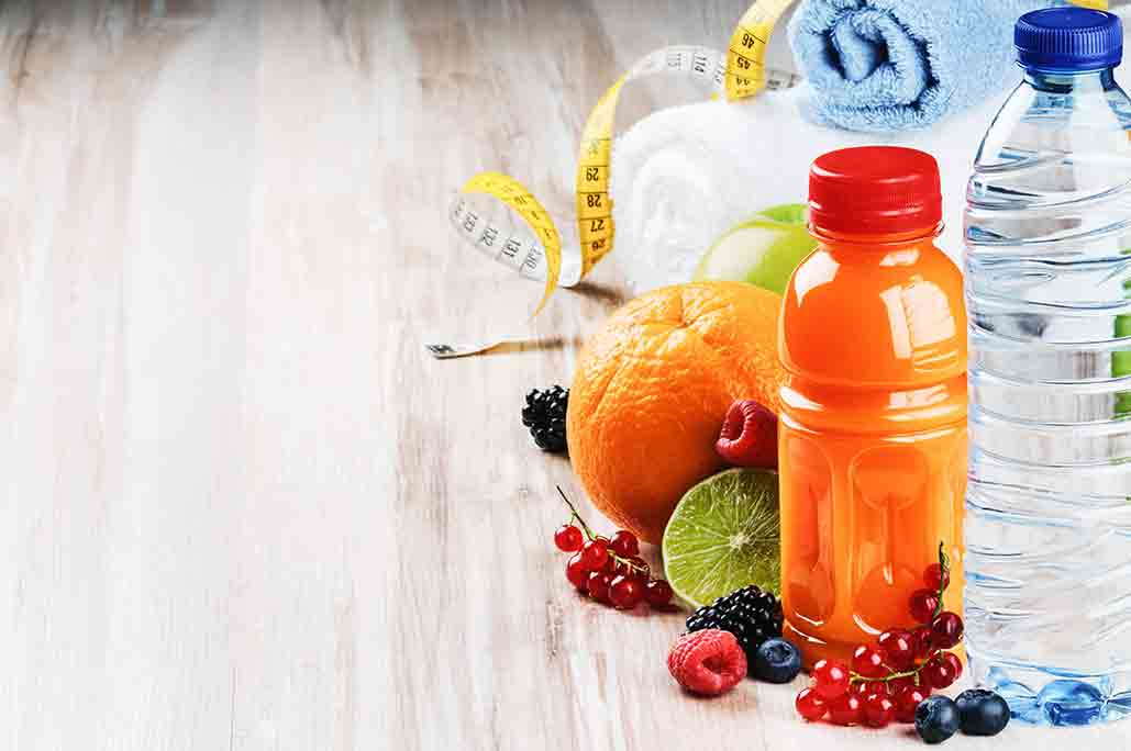 Healthy fruit, water and gym stuff