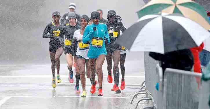 78 Team Members Challenged by Weather in 2018 Boston Marathon