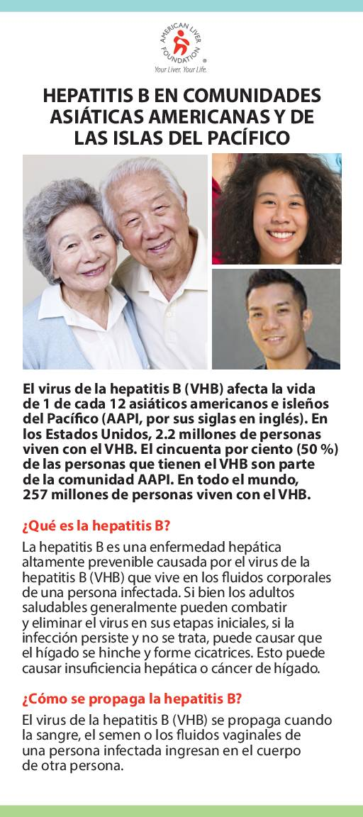 Hepatitis B At-a-Glance Asian American and Pacific Islander Communities (Spanish)